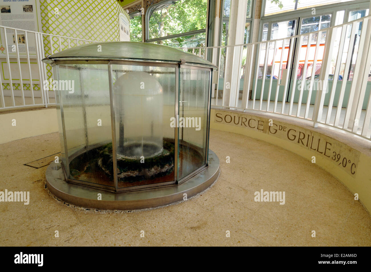 France, Allier, Vichy, Hall of the Sources, fountain of Grande Grille under glass - Stock Image