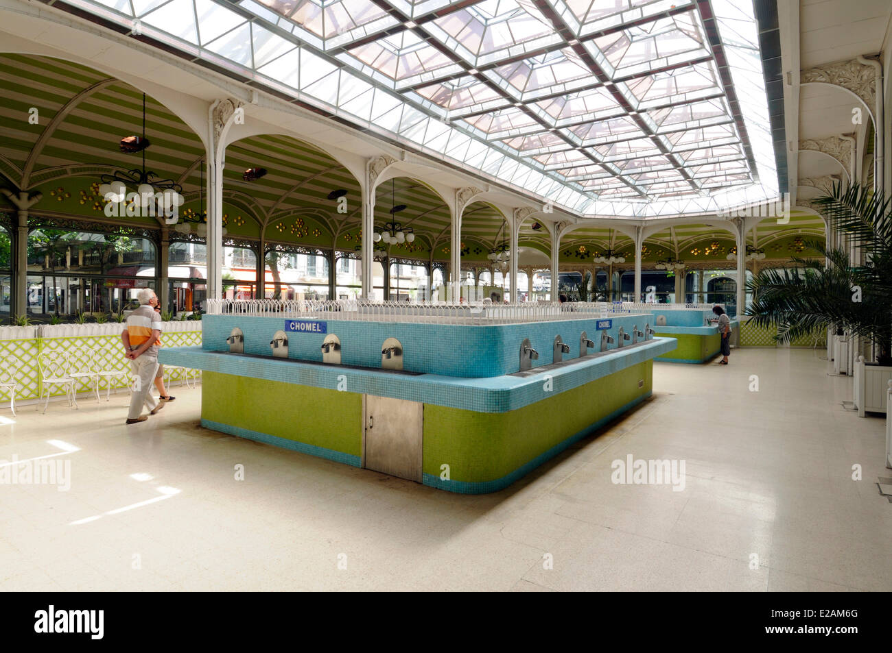 France, Allier, Vichy, Hall of the Sources, faucets for drawing water source - Stock Image