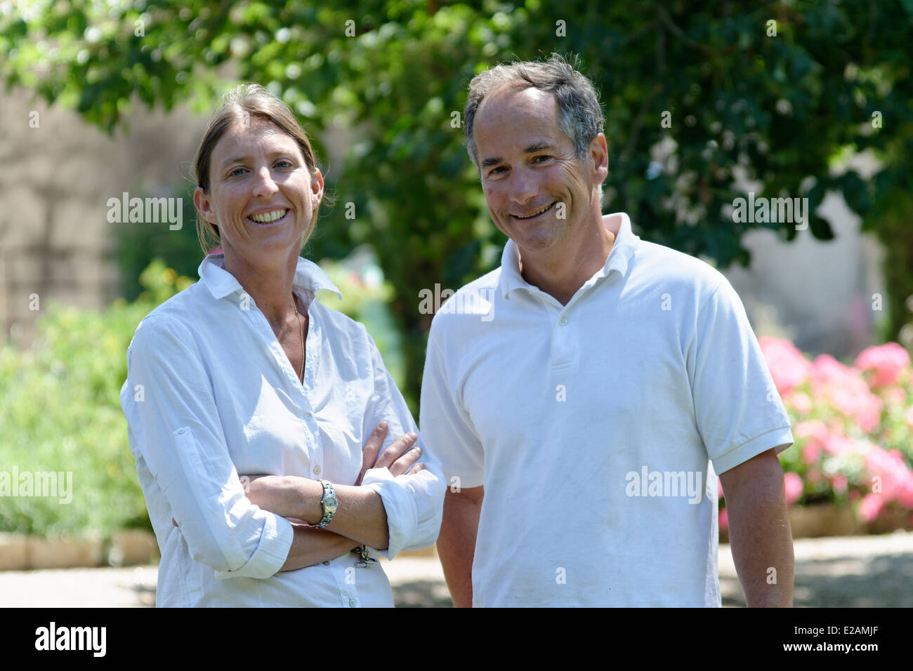 France, Herault, Saint Aunes, Chateau les Mazes domain, owners Dorothee and Bernard Bouchet - Stock Image