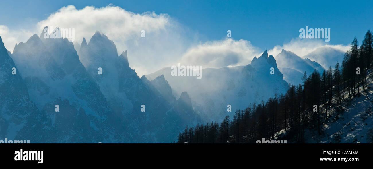 France, Haute Savoie, Chamonix Mont Blanc, Aiguille du Midi and Aiguilles de Chamonix - Stock Image