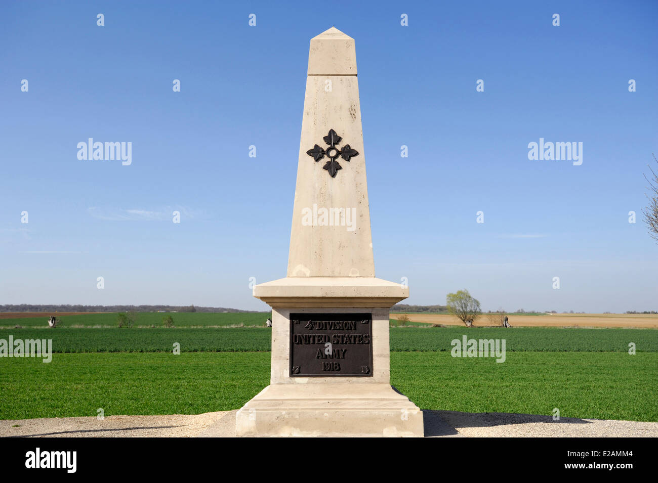France, Meuse, Manheulles, War Memorial of the U.S. 4th Division - Stock Image