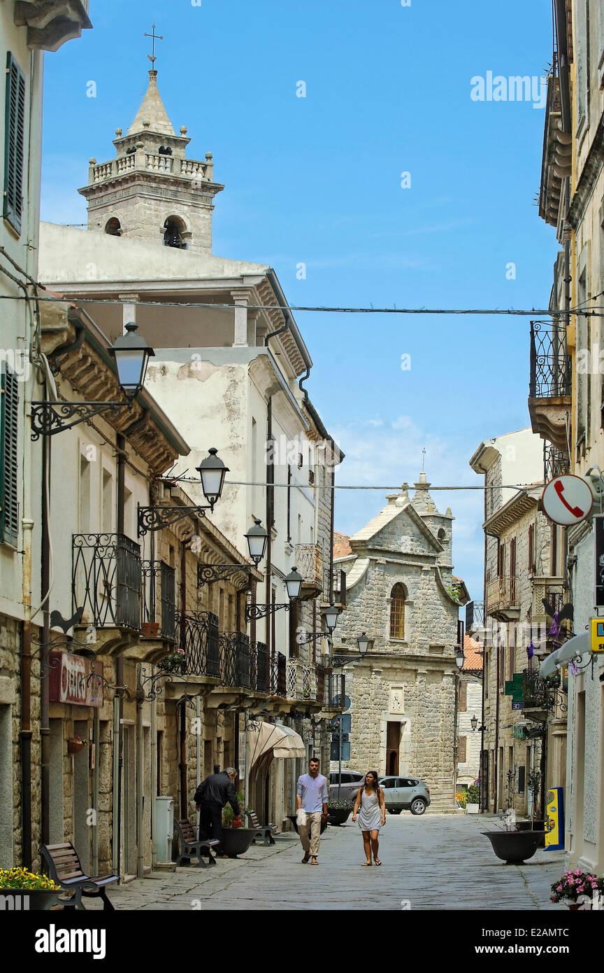 Italy, Sardinia, Olbia Tempio Province, Pausania, cobbled pedestrian street lined with buildings of granite witnessed - Stock Image