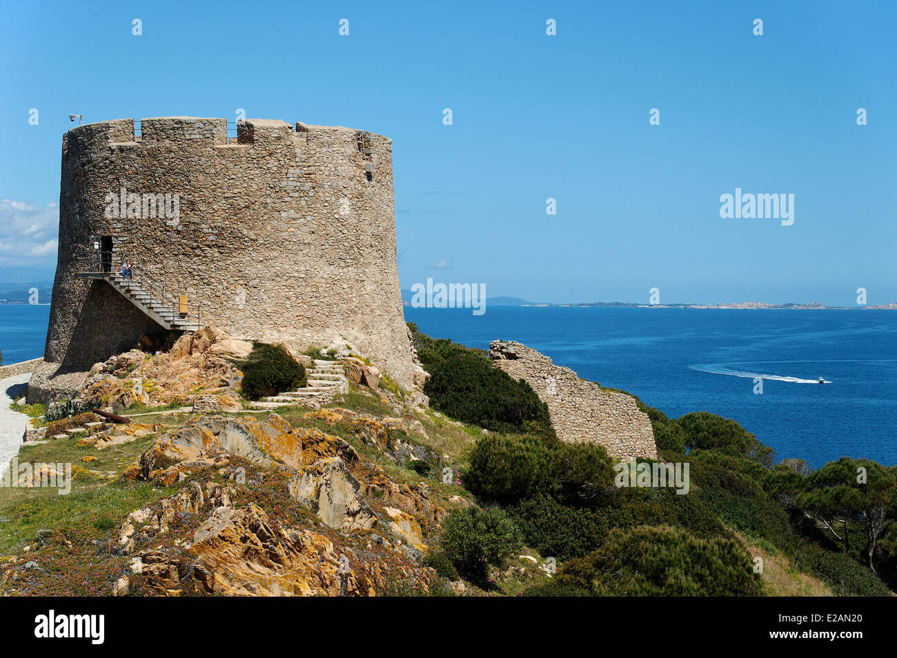 Italy, Sardinia, Olbia Tempio Province, Santa Teresa Gallura, defensive tower of the 16th century Longosardo built - Stock Image