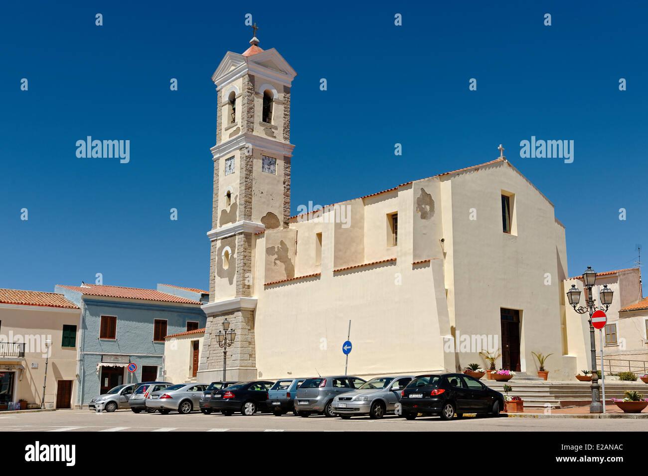 Italy, Sardinia, Olbia Tempio Province, Santa Teresa Gallura, Piazza San Vittorio, Santa Teresa Parish - Stock Image