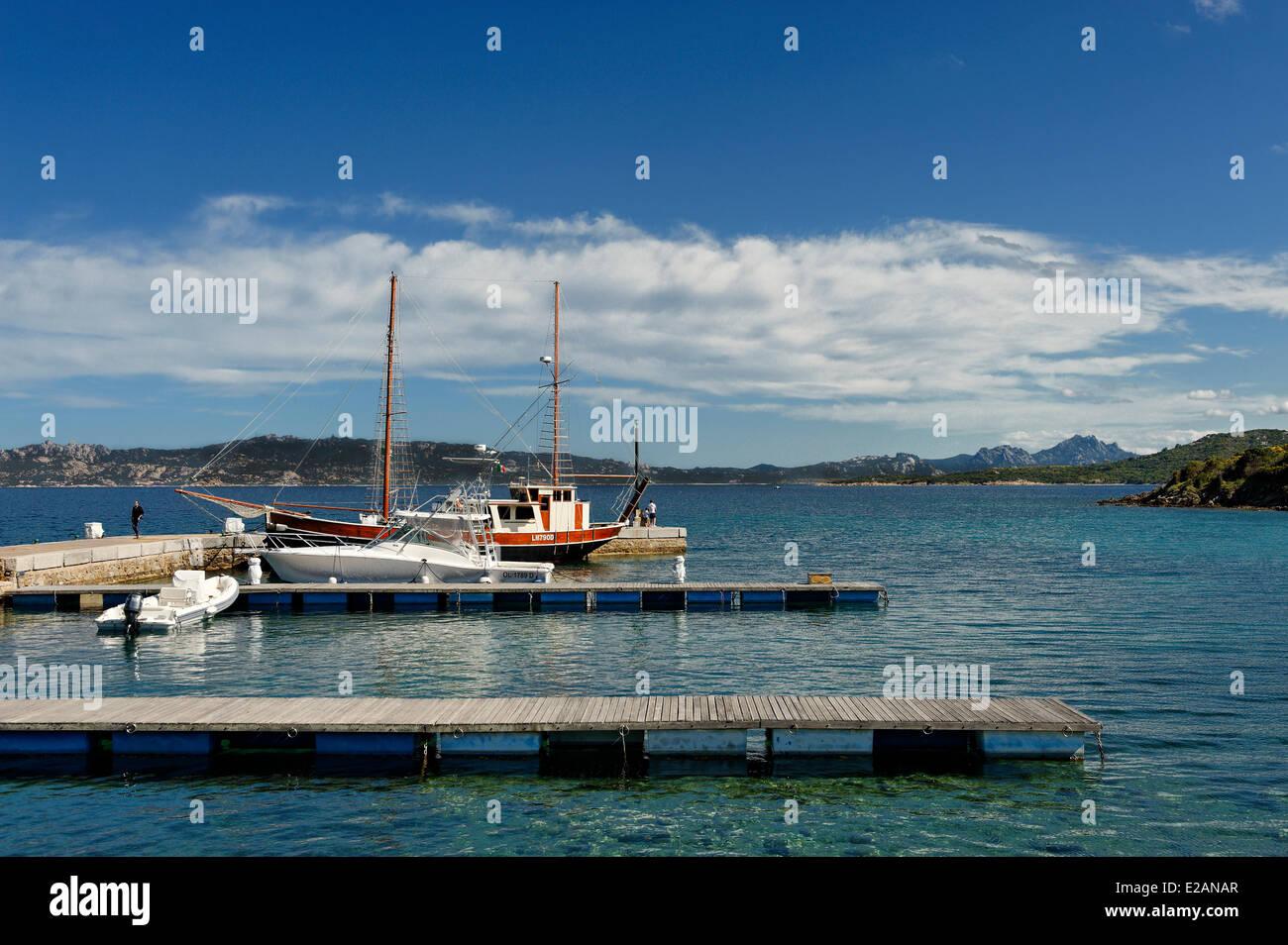 Italy, Sardinia, Olbia Tempio Province, Le Saline, marina, caiques (traditional sailboats) moored alongside with - Stock Image