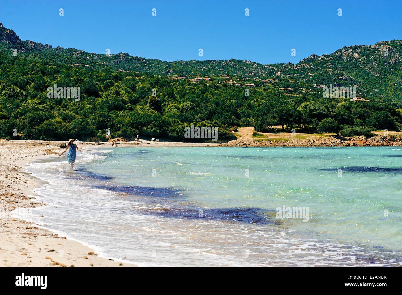 Italy, Sardinia, Olbia Tempio Province, the Emerald Coast (Costa Smeralda), Porto Cervo, Pevero beach, young woman Stock Photo