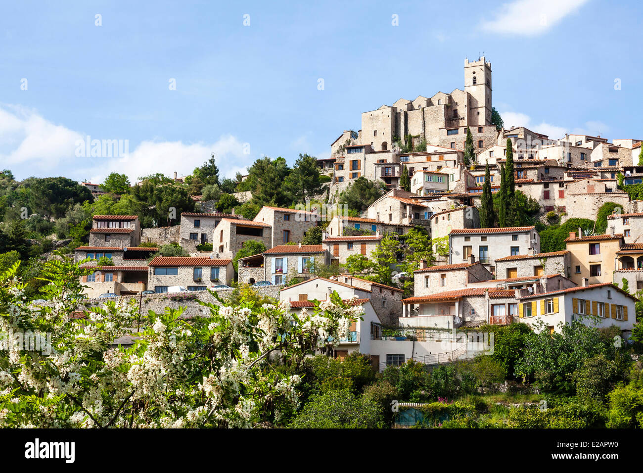 France, Pyrenees Orientales, Eus, labelled Les Plus Beaux Villages de France (The Most Beautiful Villages of France), - Stock Image