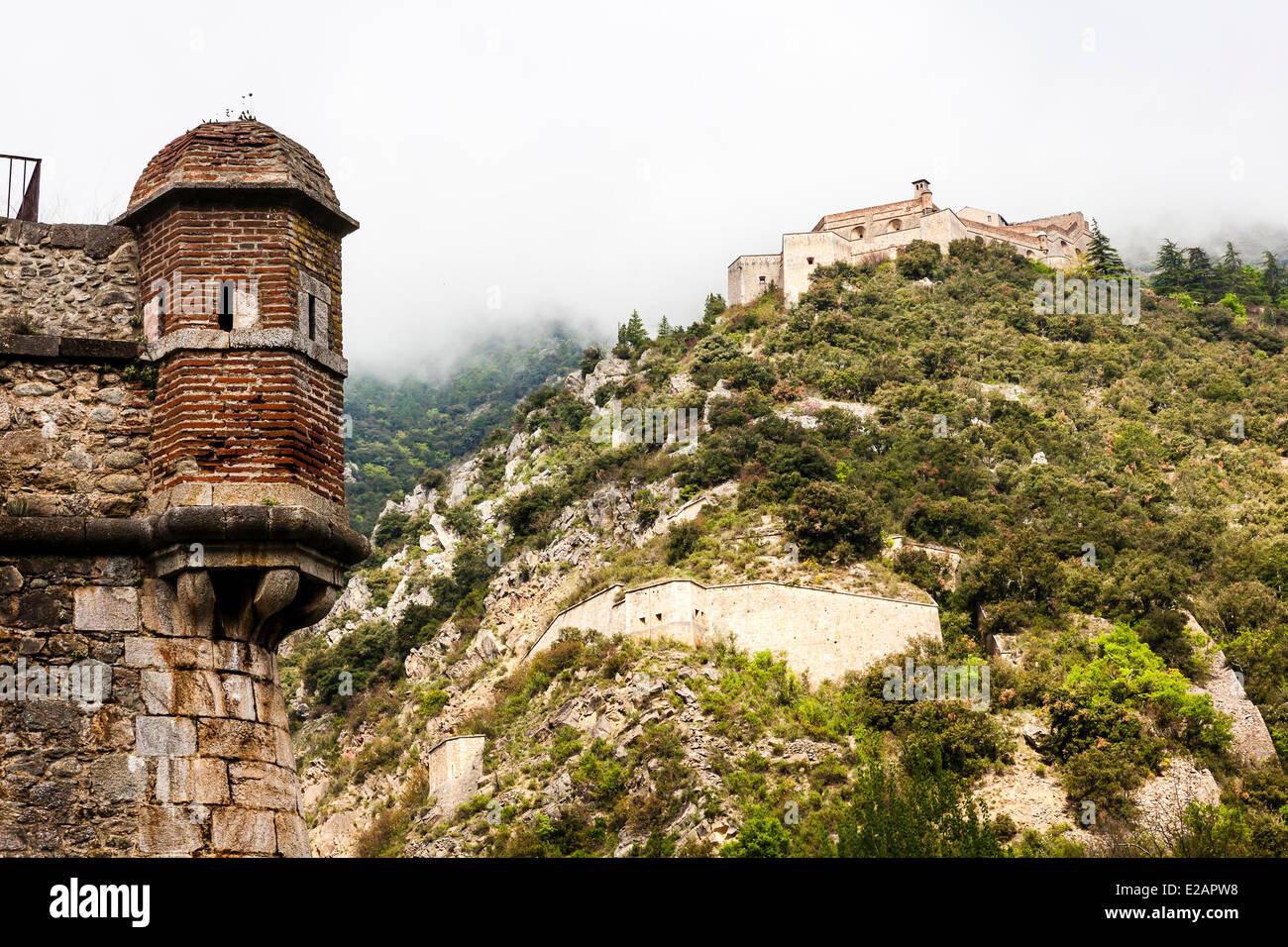 France, Pyrenees Orientales, Villefranche de Conflent, labelled Les Plus Beaux Villages de France (The Most Beautiful Stock Photo