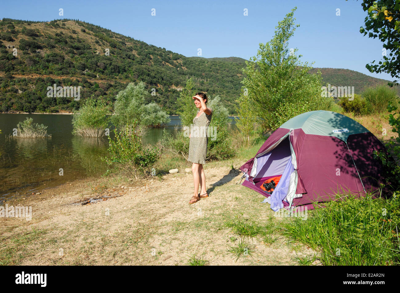 France, Pyrenees Orientales, Caramany, A camper near the Lake - Stock Image