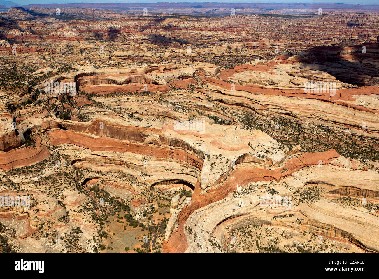 United States, Utah, Canyonland National Park, the Maze (aerial view) - Stock Image