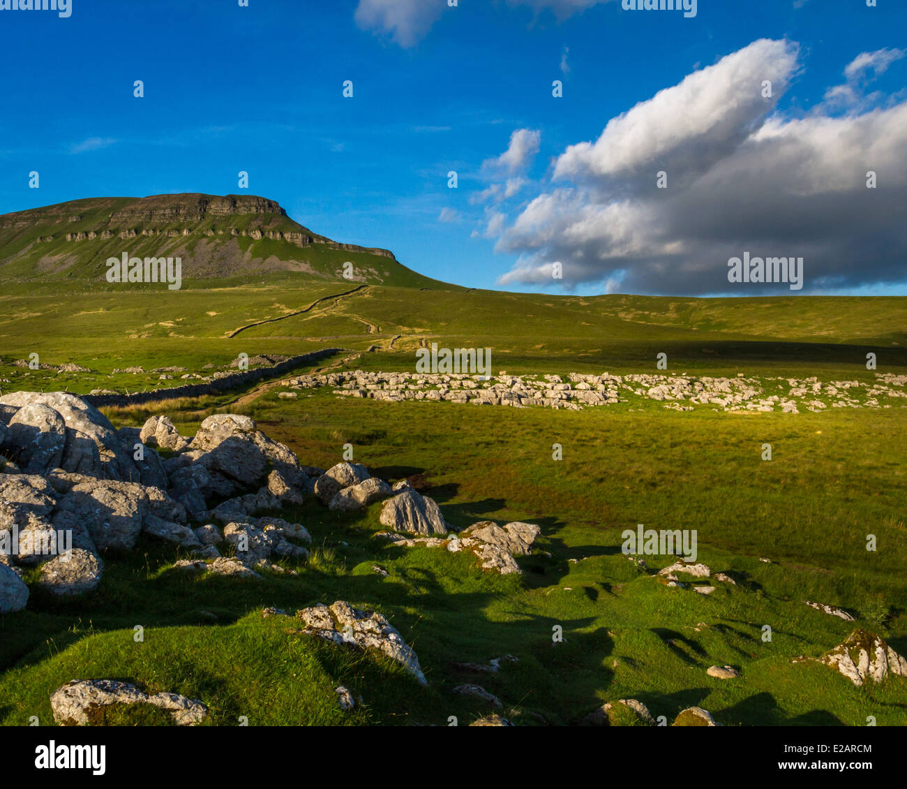 Early morning ascent of Pen-y-Ghent mountain, Yorkshire Dales - Stock Image