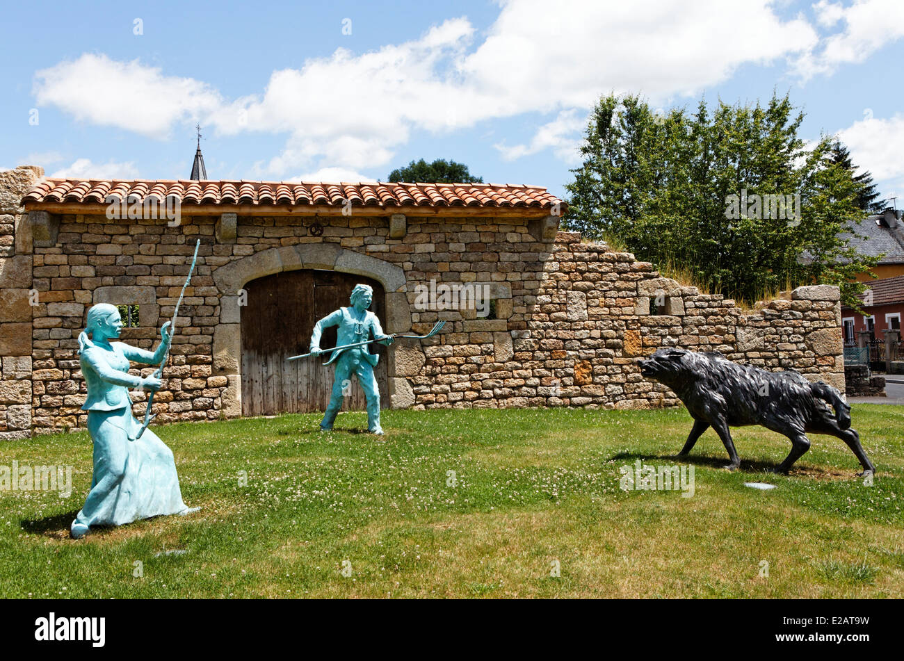 France, Lozere, Le Malzieu Ville, representation of an attack of the Beast of Gevaudan at the entrance of the village - Stock Image