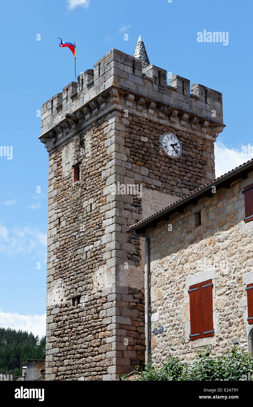 France, Lozere, Le Malzieu Ville, the belfry clock tower - Stock Image