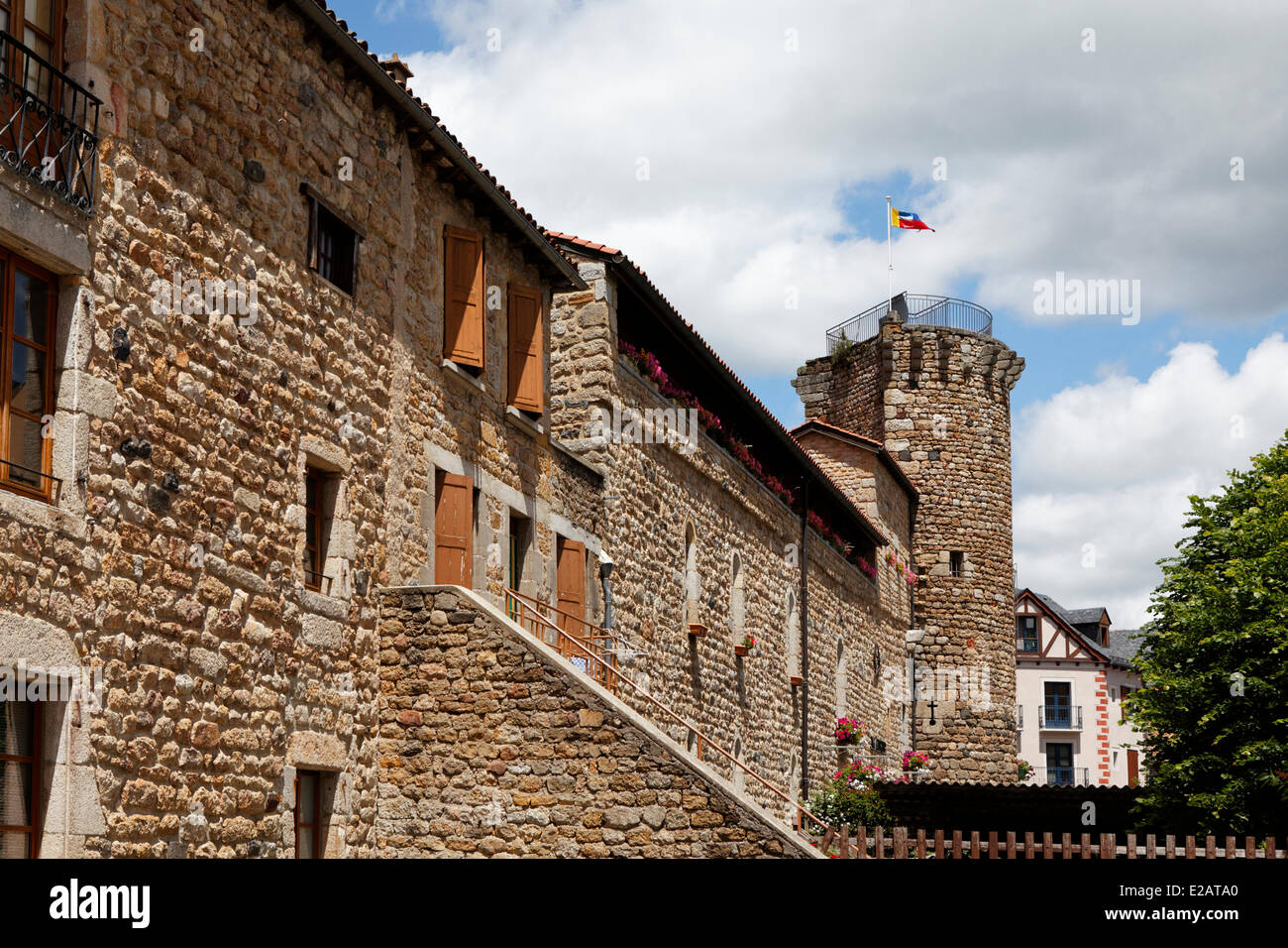France, Lozere, Le Malzieu Ville, ancient walls and tower Bodon - Stock Image
