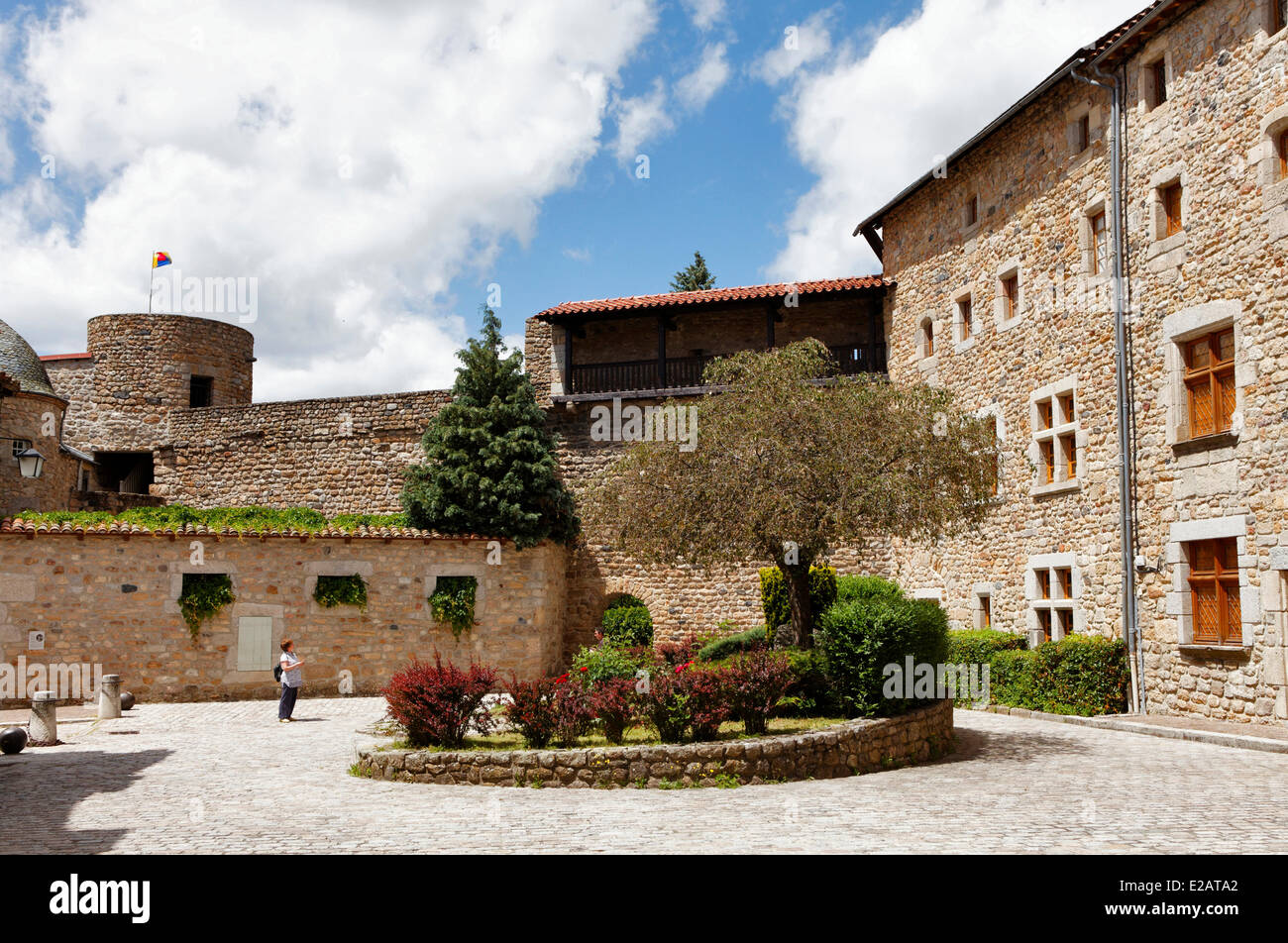 France, Lozere, Le Malzieu Ville, the courtyard of the Convent of the Ursuline - Stock Image