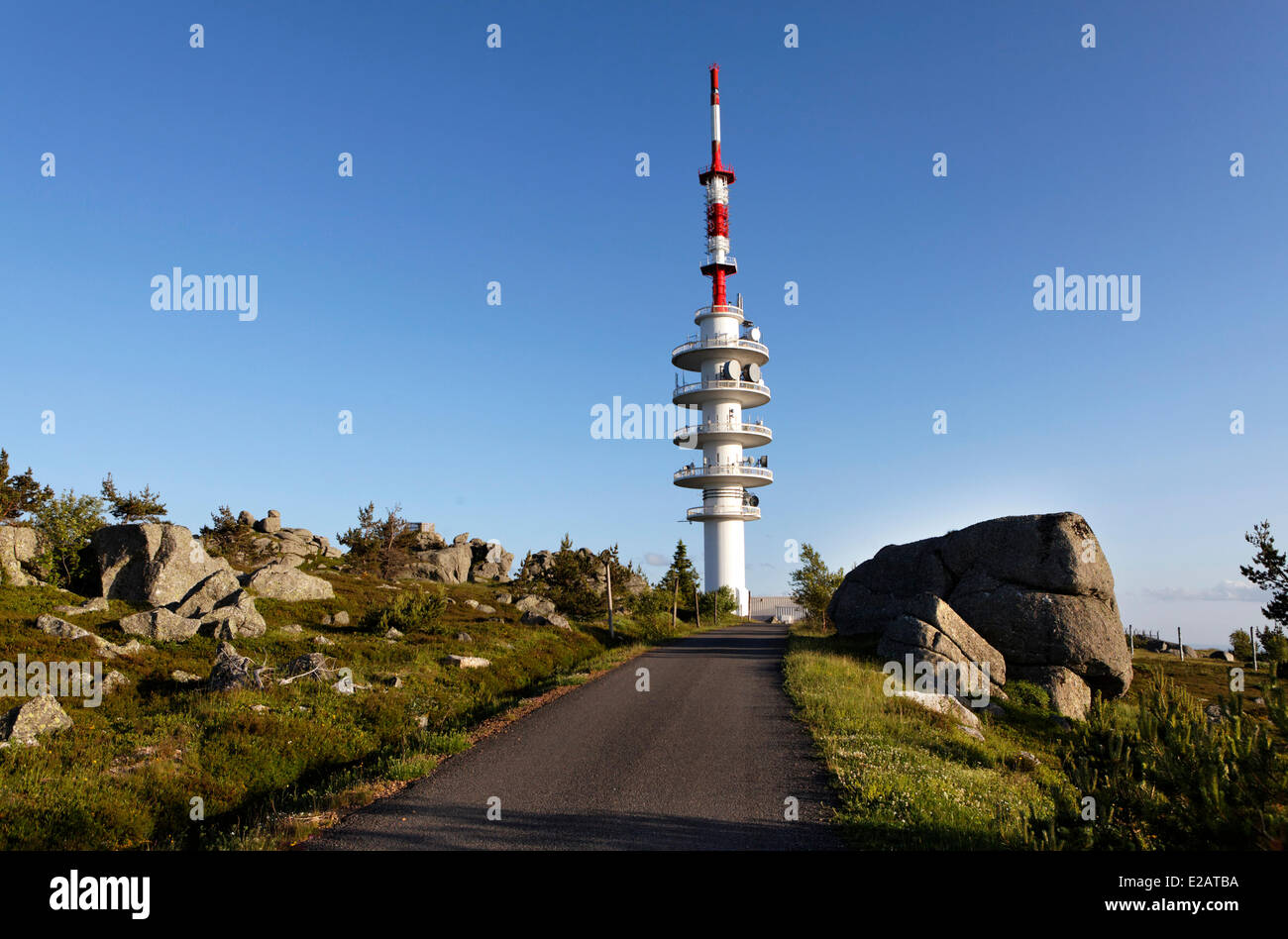 France, Lozere, radio tower at the top of Truc Fortunio, culminating mountains of Margeride - Stock Image