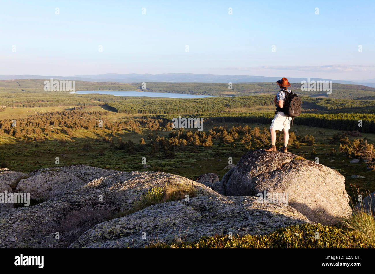 France, Lozere, Lake Truc Charpal seen Fortunio, culminating Mountains Margeride hiker - Stock Image