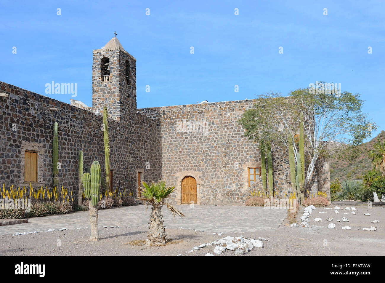 Mexico, Baja California Sur State, Mulege, Mission Santa Rosalia built between 1705 and 1766 - Stock Image