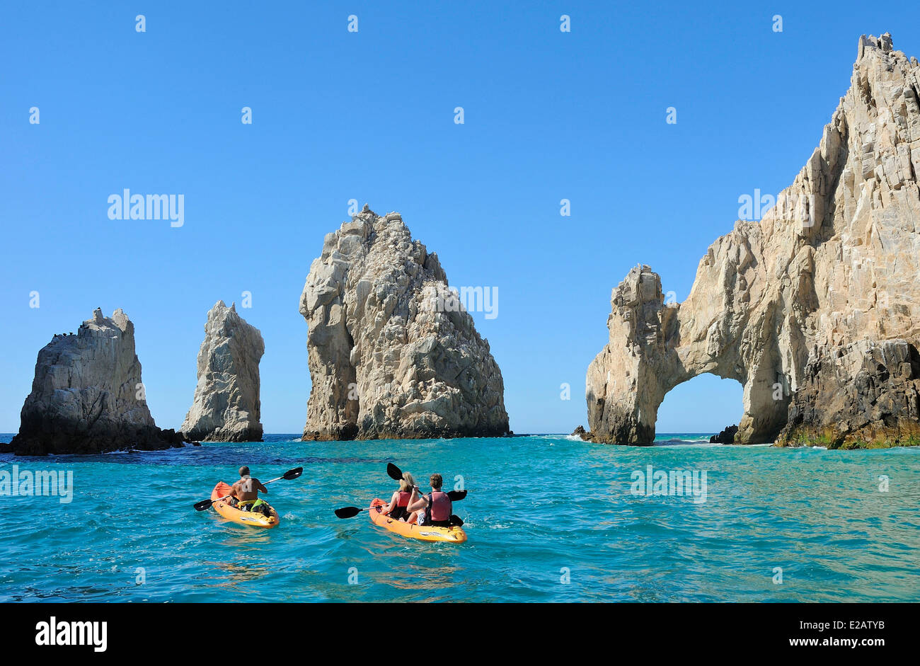 Mexico, Baja California Sur State, Sea of Cortez, listed as World Heritage by UNESCO, Cabo San Lucas, Sea Kayaking - Stock Image