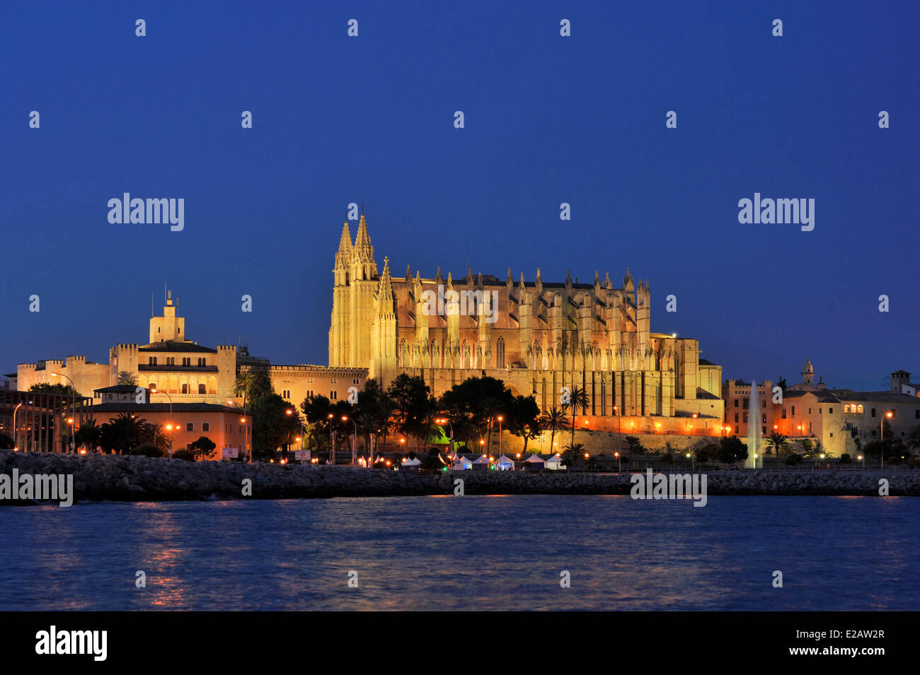 Spain, Balearic Islands, Mallorca, Palma, Cathedral by night - Stock Image