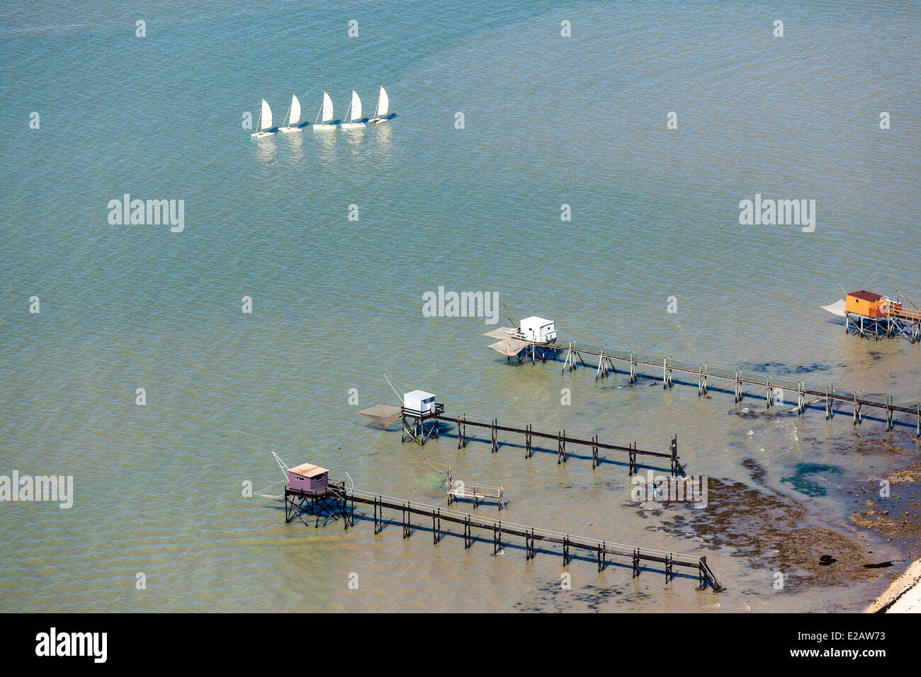 France, Charente Maritime, Fouras, fisheries and sailboats (aerial view) - Stock Image