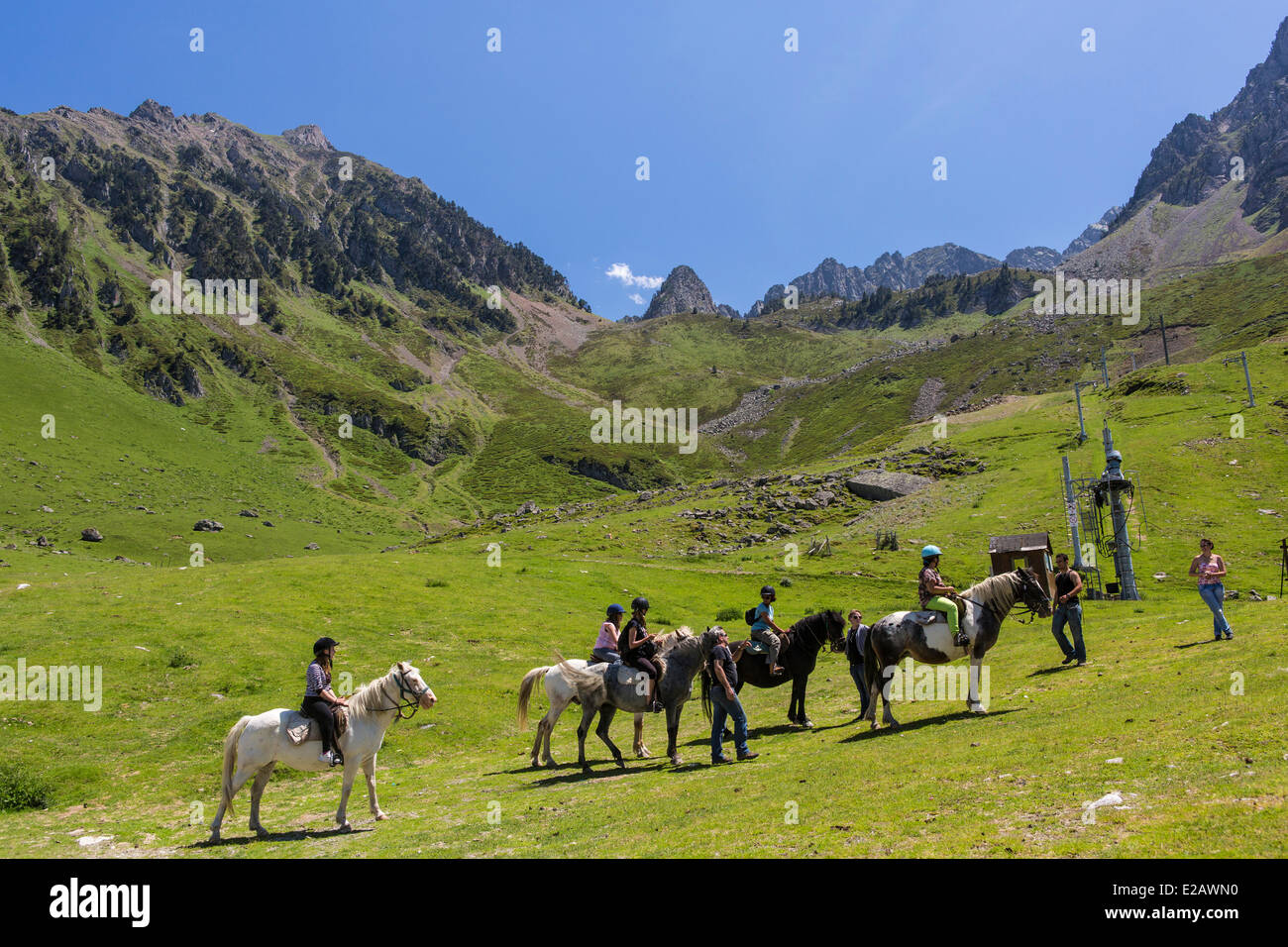 France, Hautes Pyrenees, Bagneres de Bigorre, La Mongie, pony trekking Stock Photo