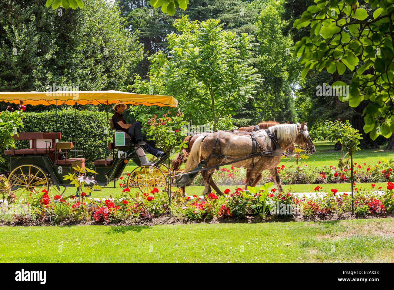 France, Hautes Pyrenees, Tarbes, walk in carriage in Massey Garden - Stock Image