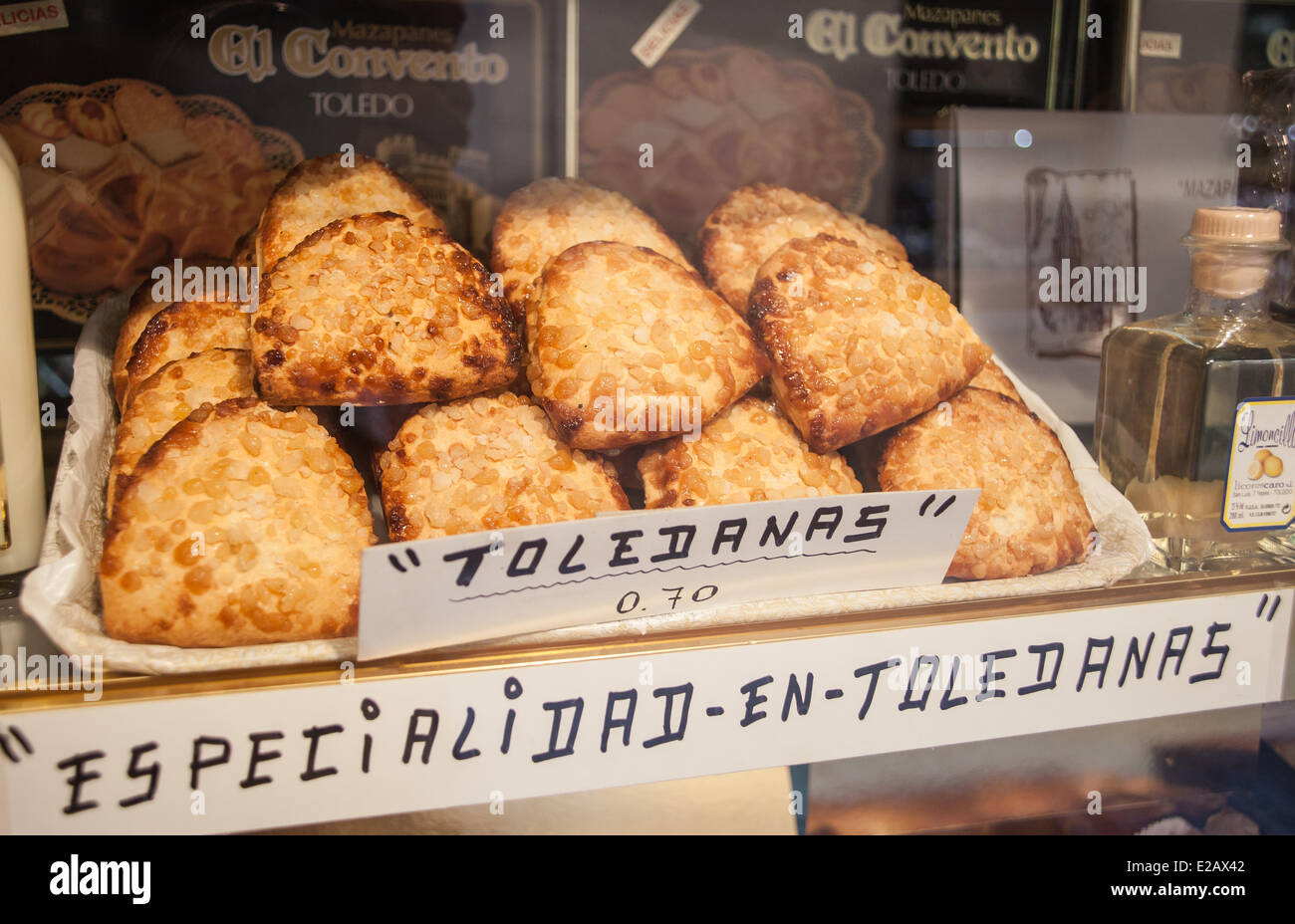 Spain, Castilla La Mancha, Toledo, historical center listed as World Heritage by UNESCO, toledanas, specialty pastry - Stock Image