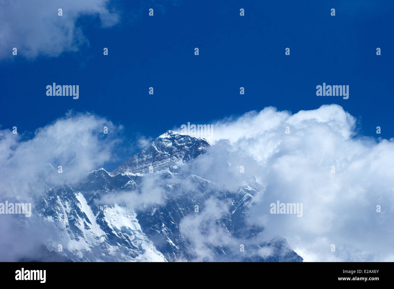 View of Mount Everest from Everest View Hotel, near Namche Bazaar, Nepal, Asia - Stock Image