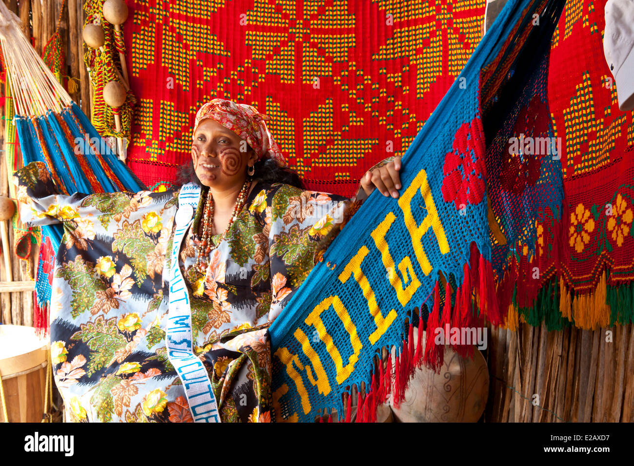 Colombia, La Guajira Department, Uribia, candidate for the election of the Majayut de Oro, the golden young lady, - Stock Image