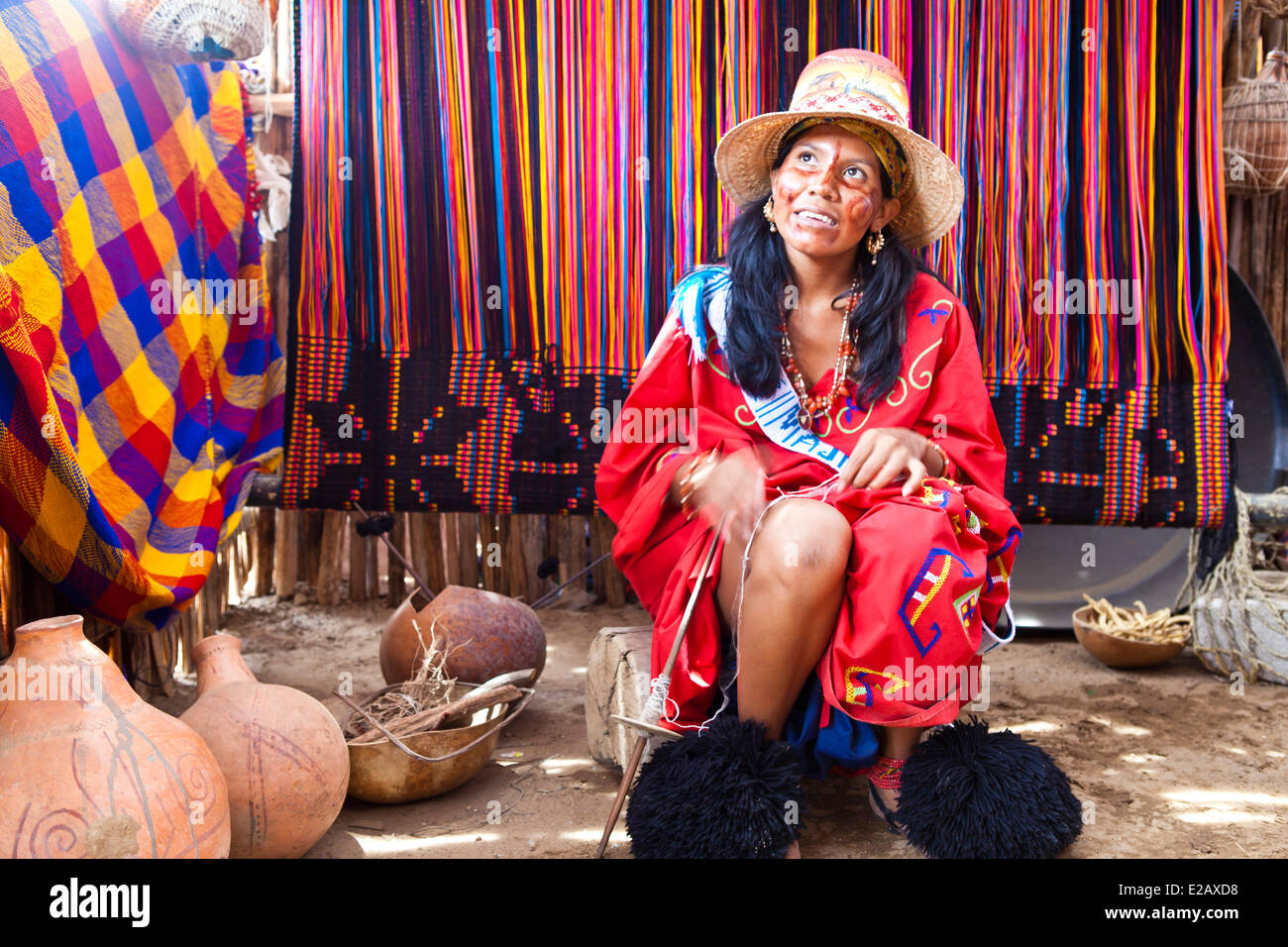 Colombia, Guajira Department, Uribia, candidate for the election of the Majayut de Oro, the golden young lady, bright - Stock Image
