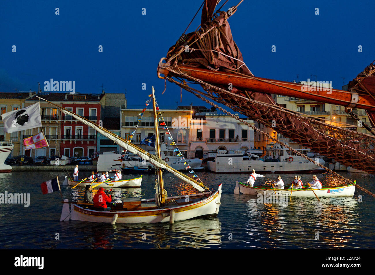 France, Herault, Sete, Quai du General Durand, Royal Canal, Maritime Traditions Festival, passing sails of night - Stock Image