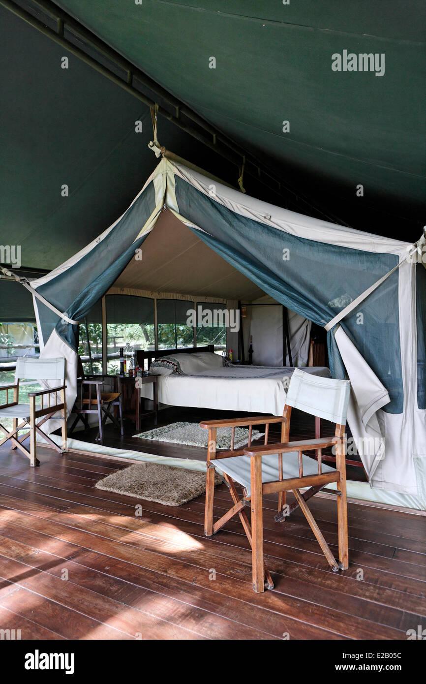Kenya, Masai Mara national reserve, Kichwa Tembo Camp Lodge, tent - Stock Image