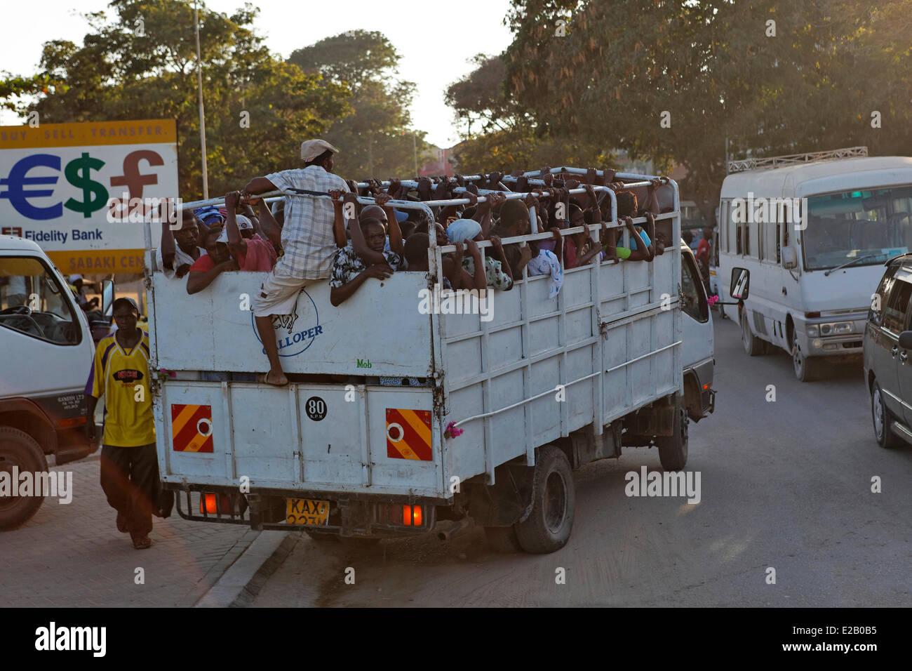 Kenya, Malindi district, truck taking Kenyan to a funeral Stock Photo
