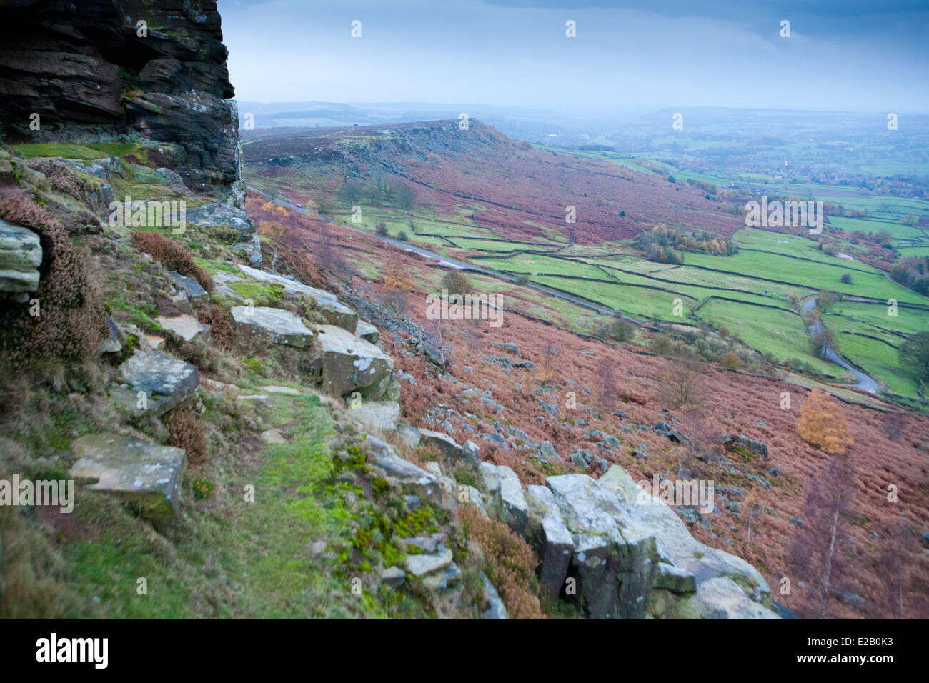 Curbar Edge, Autumn, Peak District, England, UK - Stock Image