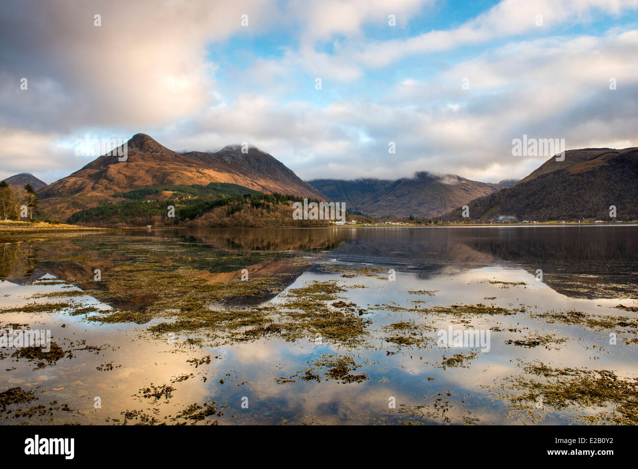Reflections on Loch Leven, Highland Scotland UK - Stock Image