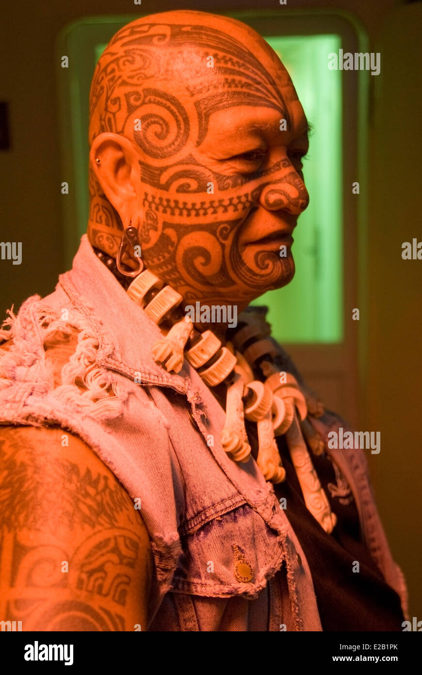 France, French Polynesia, Marquesas islands, cruise aboard the cargo ship Aranui 3, a man with tattooed faces, Jean - Stock Image