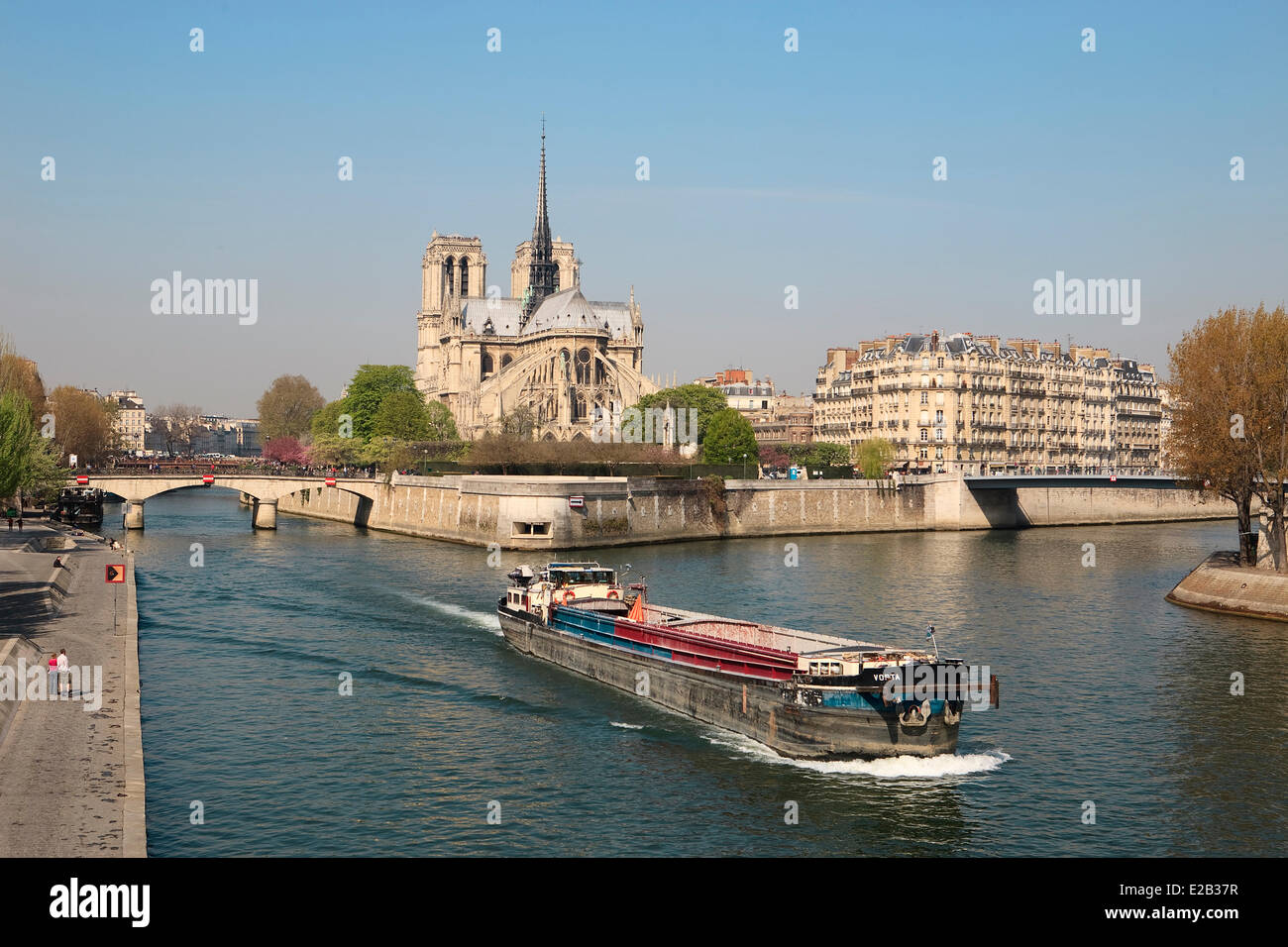 France, Paris, Seine river banks listed as World Heritage by UNESCO, barge on the Seine river and panorama on the Stock Photo