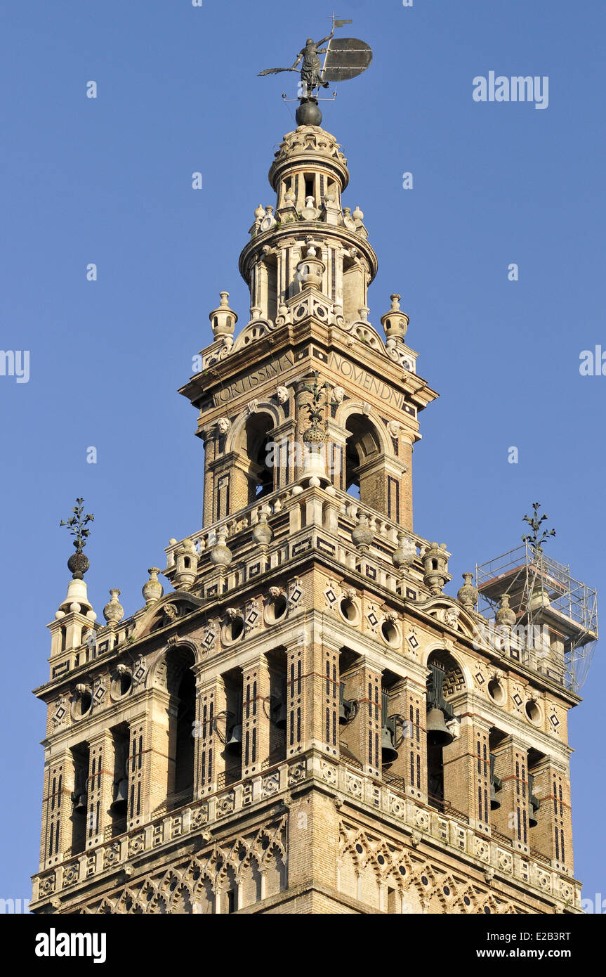 Spain, Andalucia, Giralda, a former Almohad minaret of the Great Mosque converted into a bell tower of the cathedral, - Stock Image