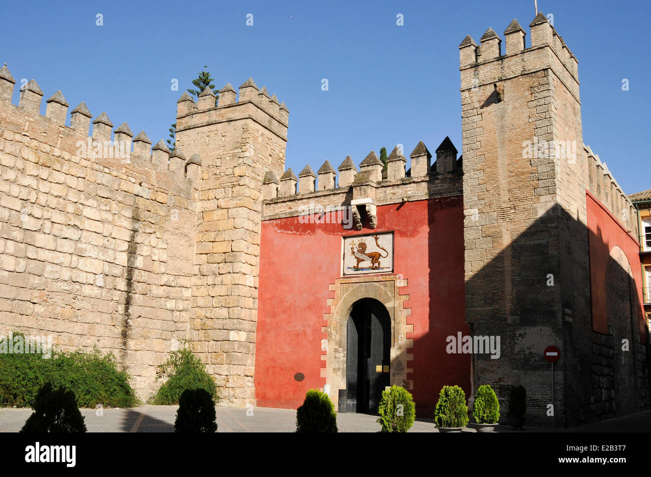 Spain, Andalucia, Alcazar, fortifications and current input - Stock Image