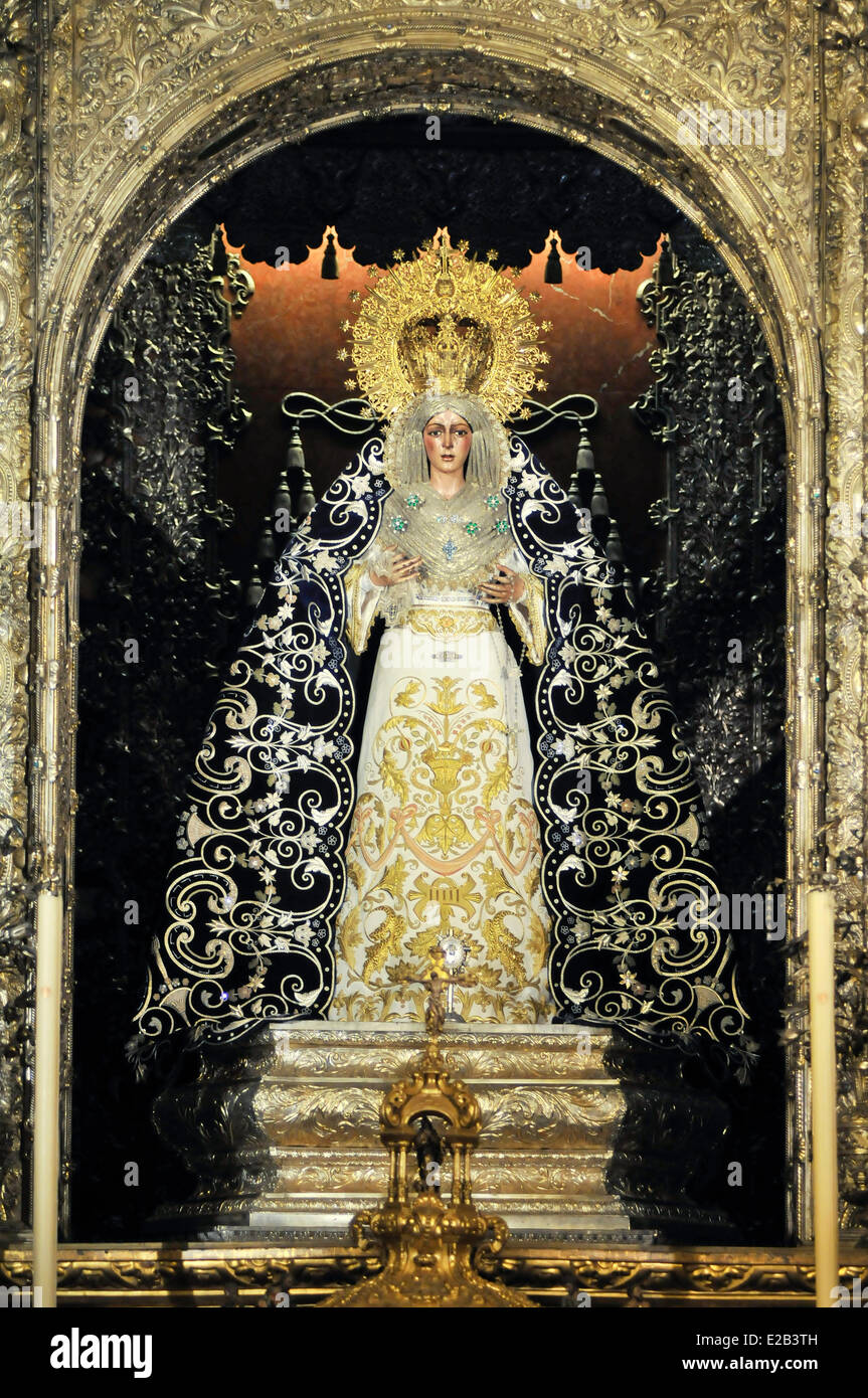 Spain, Andalucia, Seville, Basilica de la Macarena, Virgen de la Macarena work of Pedro Roldan, patron of the city, - Stock Image