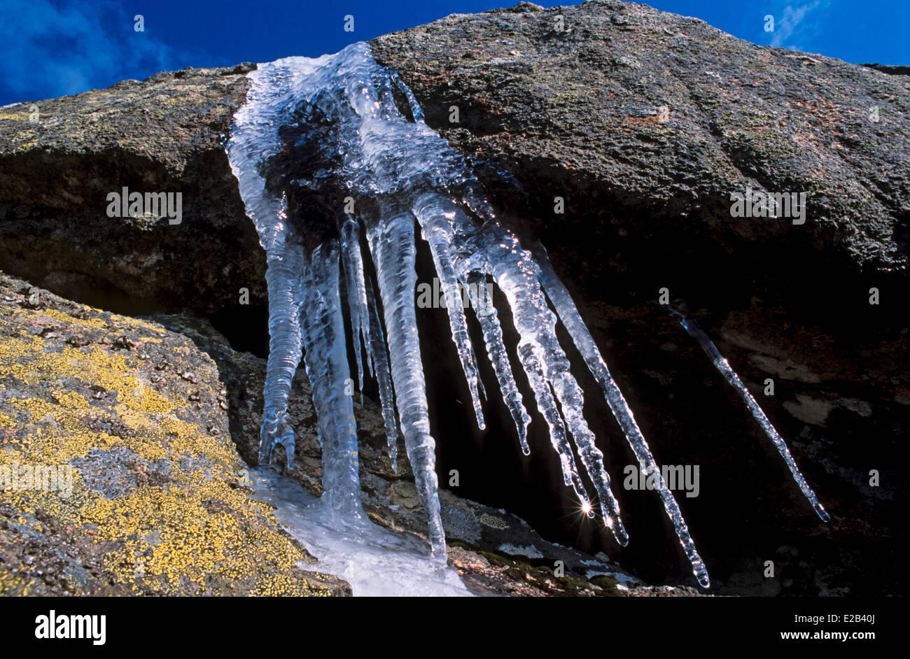 France, Haute Savoie, Mont Blanc Massif, Chamonix, ice stalactites - Stock Image