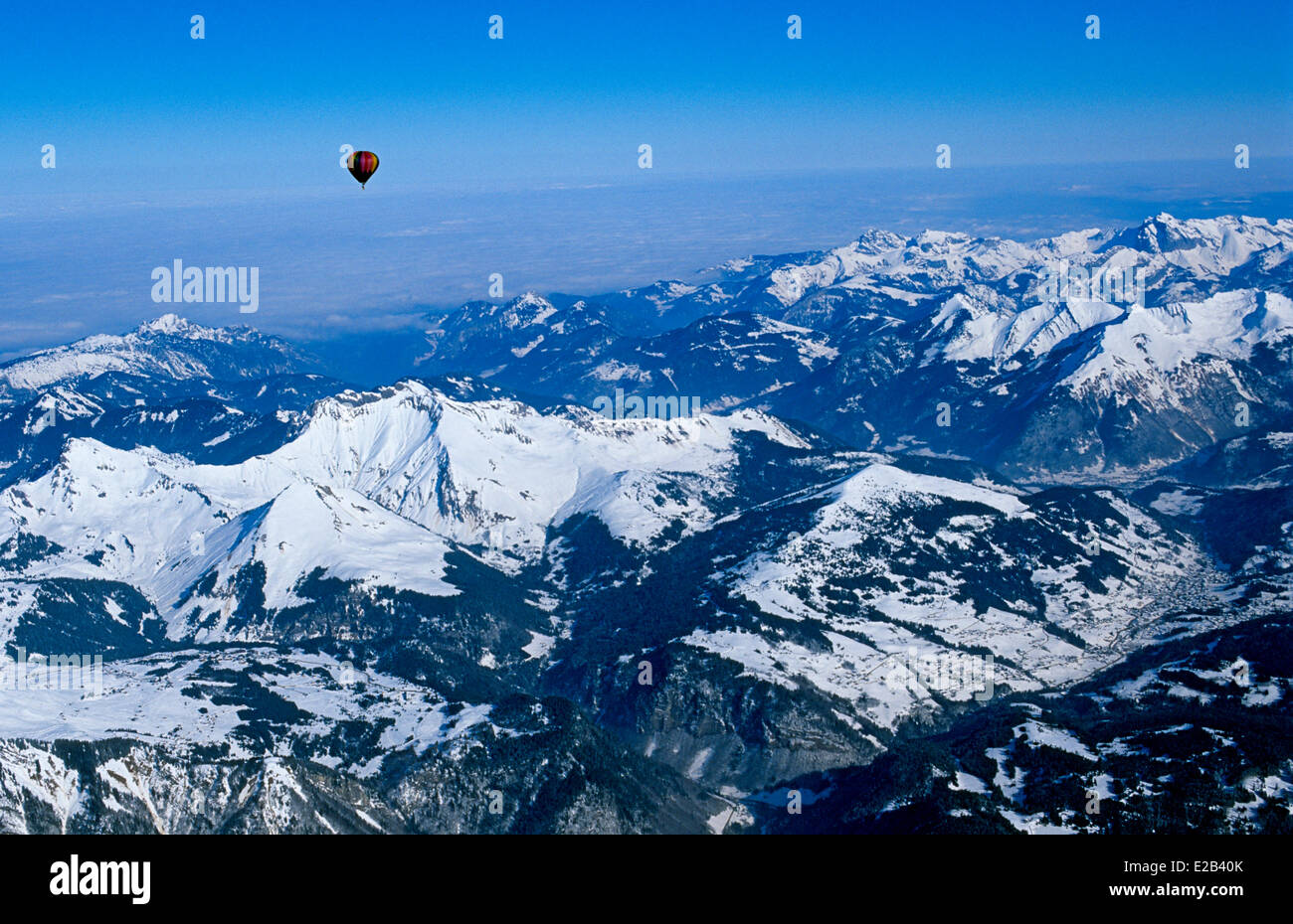 France, Haute Savoie, Megeve, flight over the Alps in hot air balloon - Stock Image