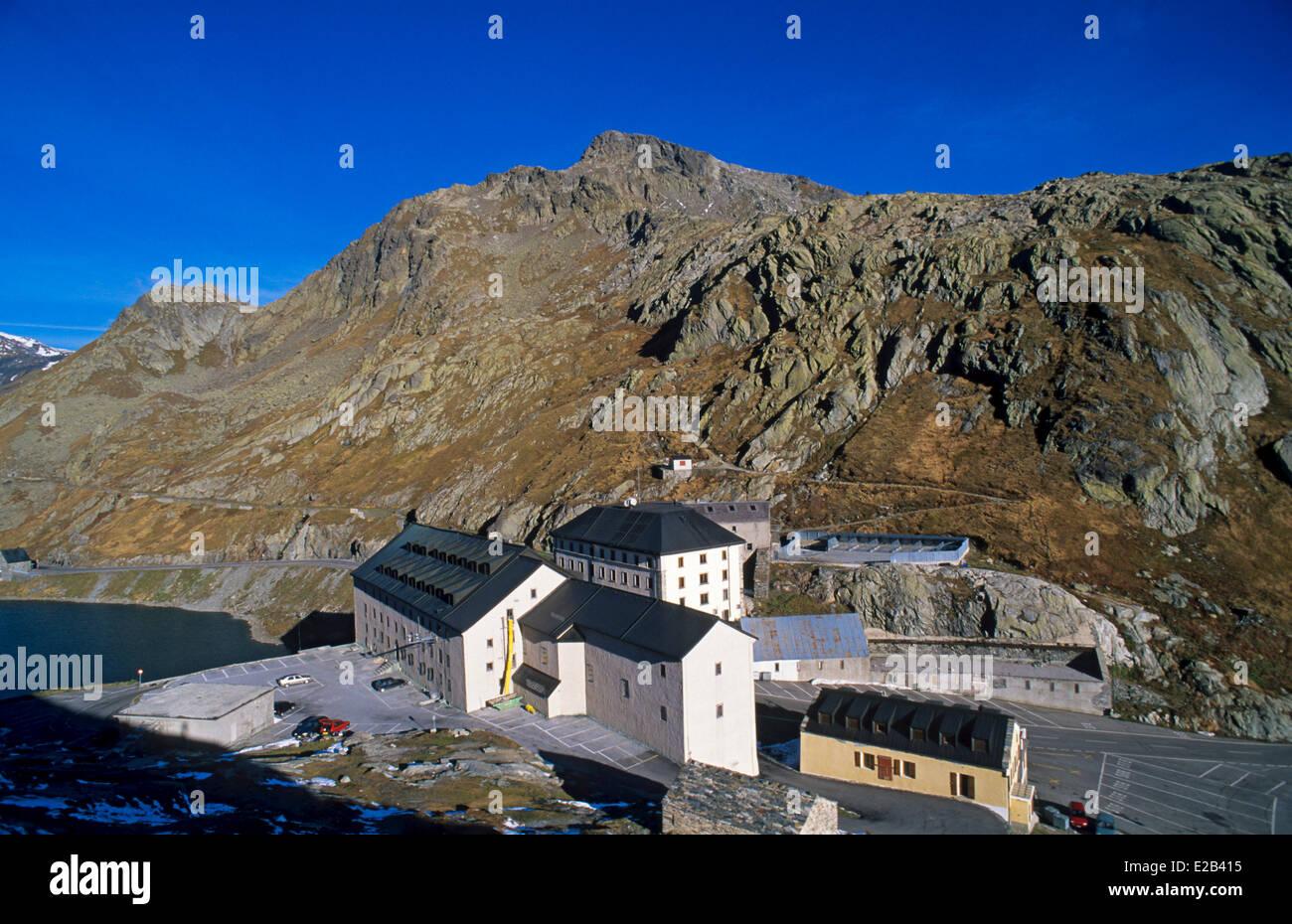 Switzerland, Mont Blanc Massif, pass, lake and hospice of Grand Saint Bernard - Stock Image