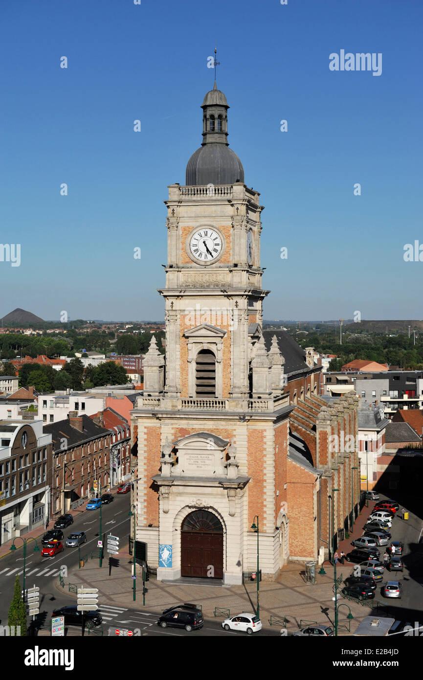 France, Pas de Calais, Lens, St Leger Church - Stock Image