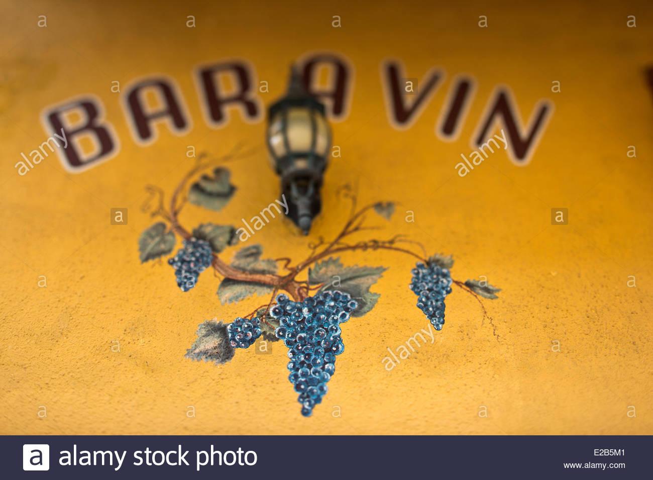 France, Corse du Sud, Ajaccio, sign of wine bar, Bar Pierrot - Stock Image
