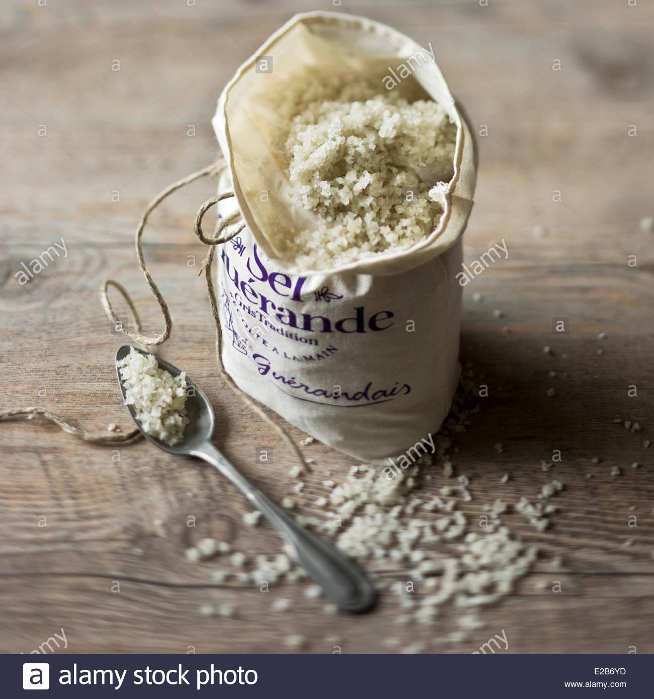 France, Loire Atlantique, Guerande, Fleur de sel, salt Guerande, styling, Valerie Lhomme - Stock Image