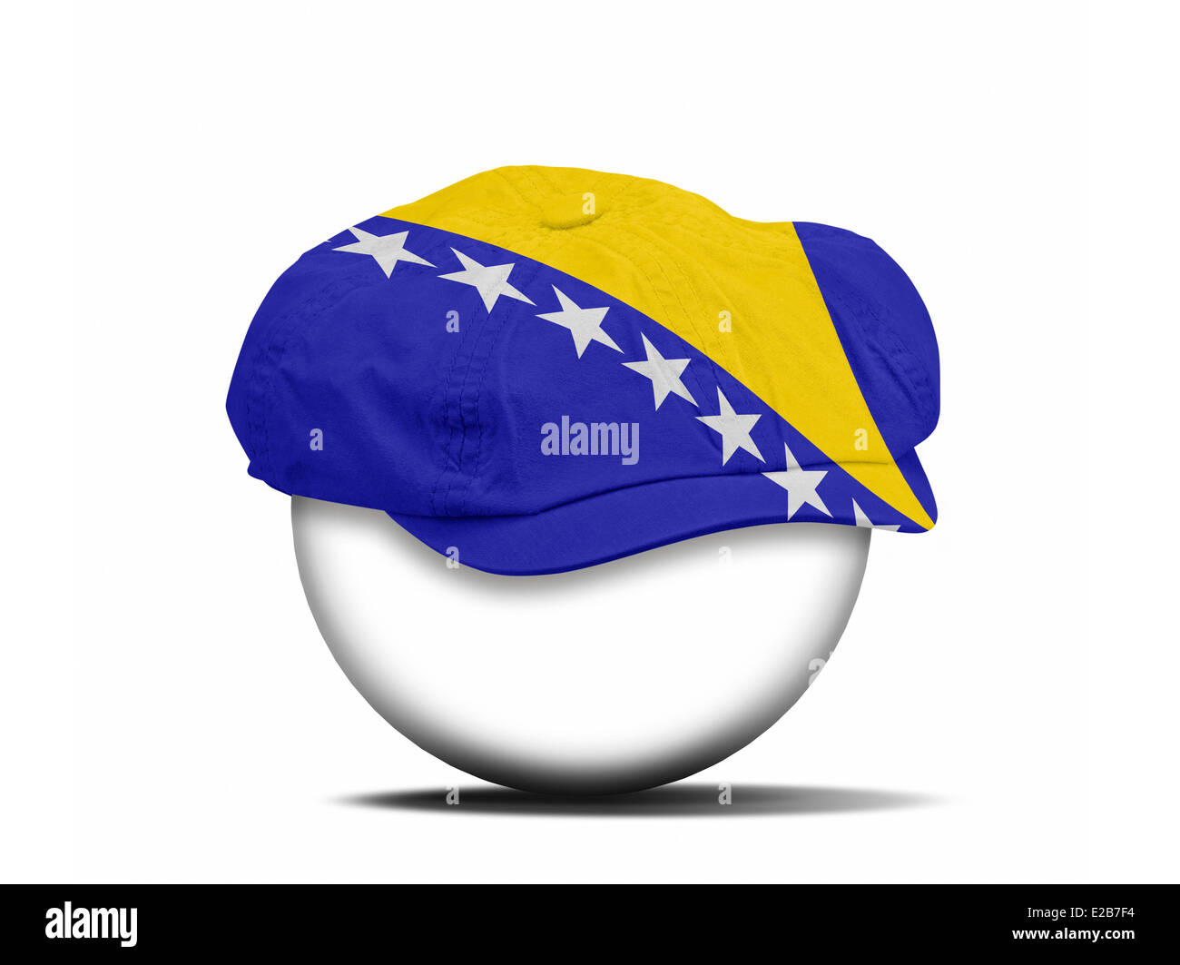 fashion hat on white with the flag of Bosnia Herzegovina - clipping path for the hat - Stock Image