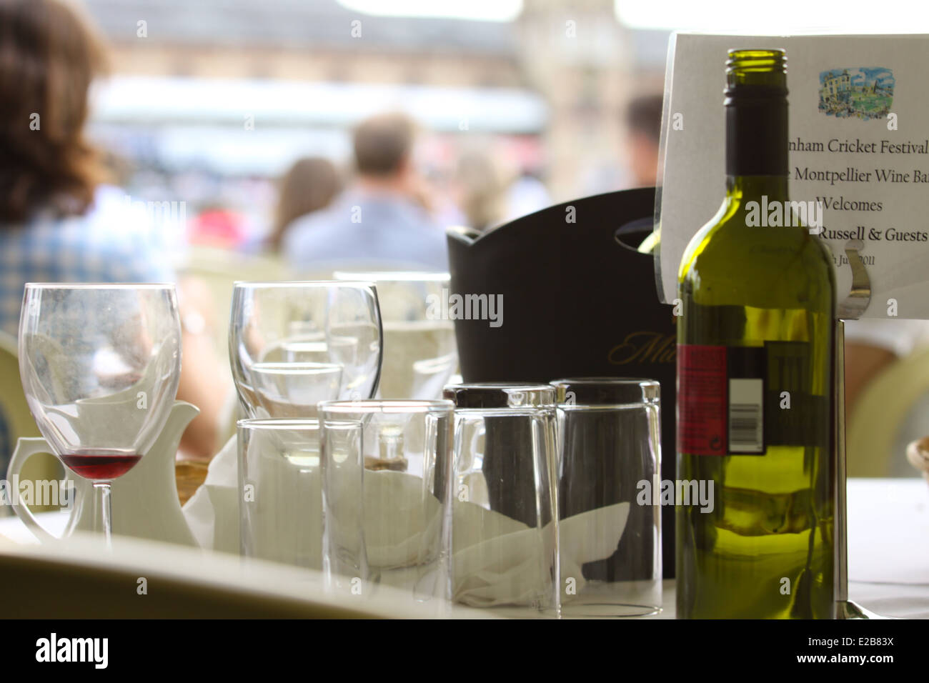 Corporate hospitality at Cheltenham cricket festival - Stock Image