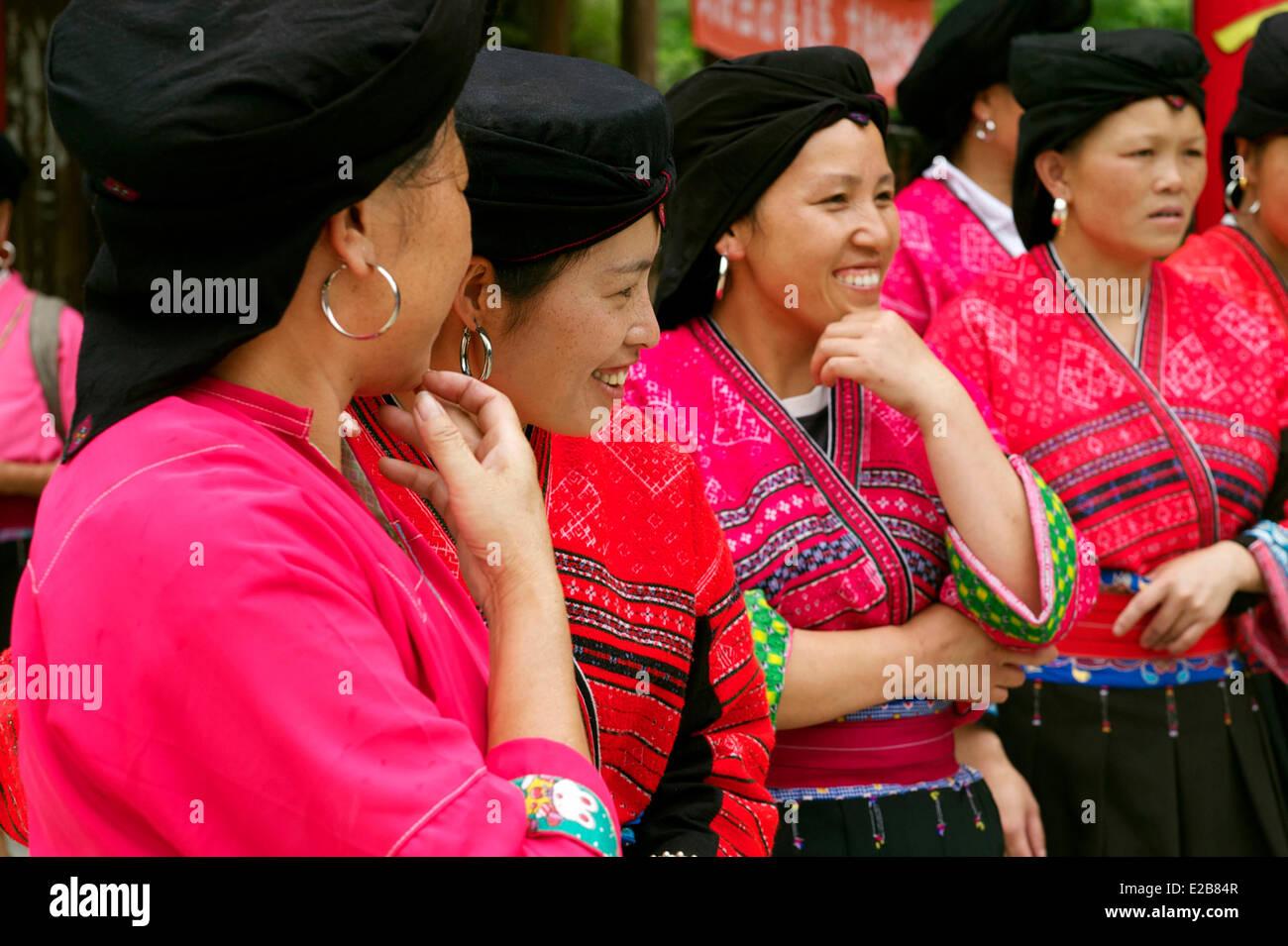 China, Guangxi Province, Longsheng, Dazhai village, Red Yao minority Stock Photo